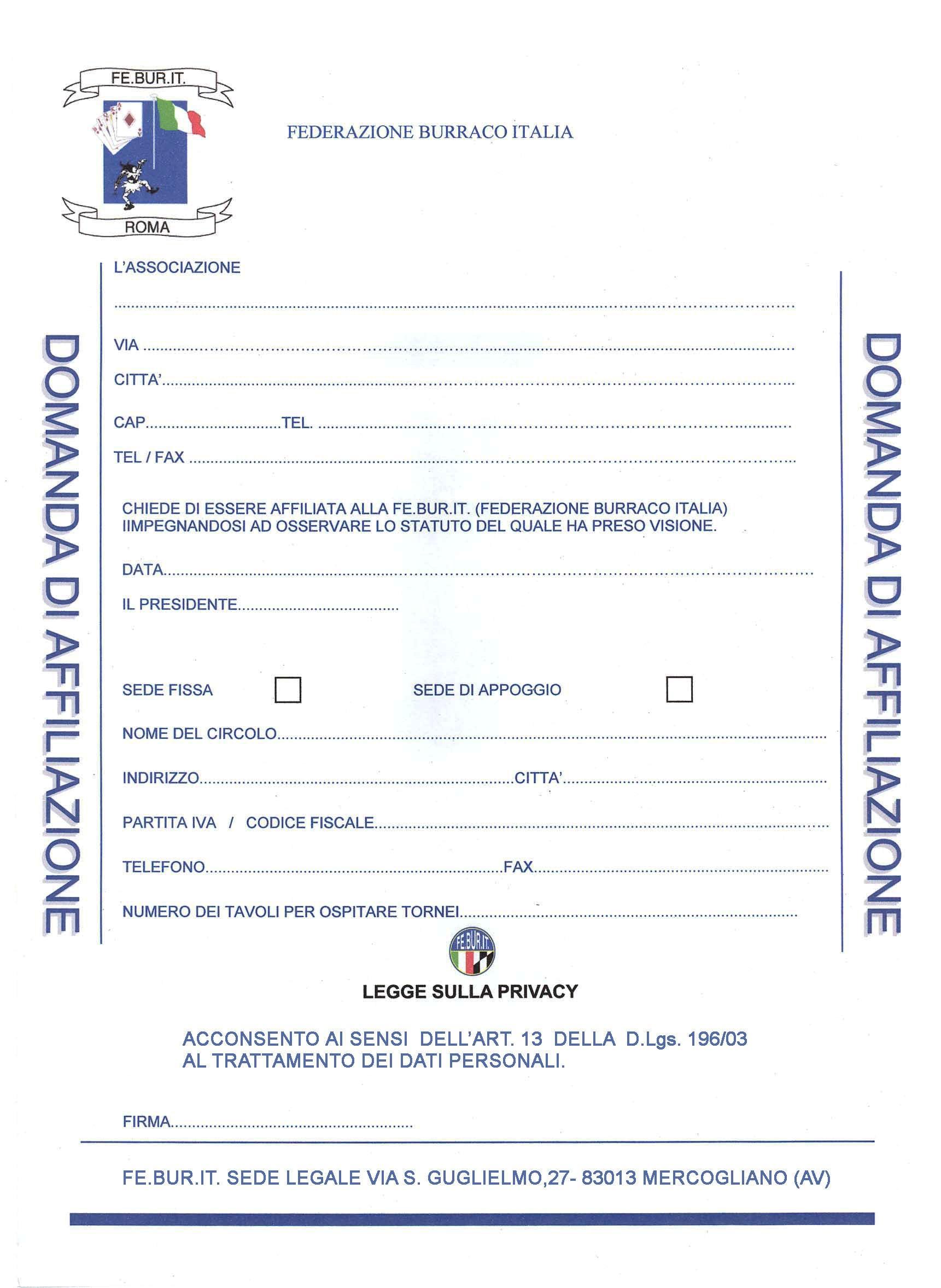 MODULO AFFILIAZIONE FEBURIT-2015