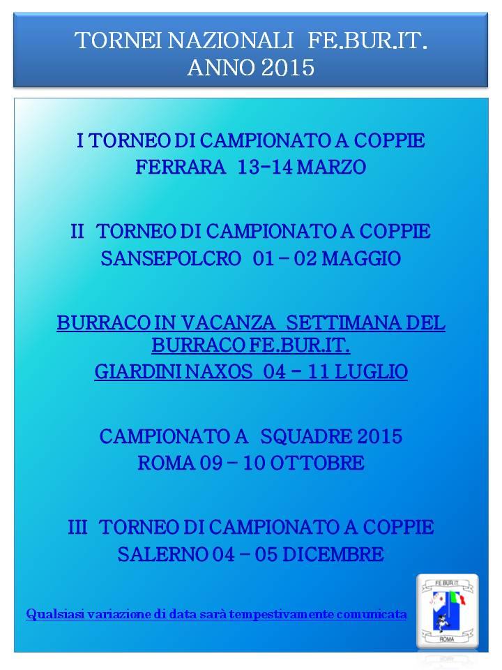 PROGRAMMA CAMPIONATO FEBURIT 2015